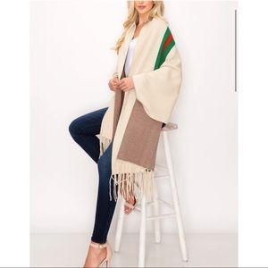Beautiful cotton blend Fringe poncho shawl sweater